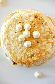 White chocolate macadamia pancakes- used almonds and almond milk, topped with crushed pineapple