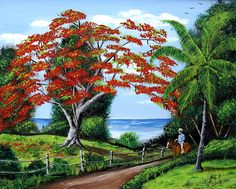 tropical landscapes paintings | Tropical Landscape Painting by Luis F Rodriguez - Tropical Landscape ...