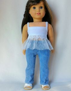 White lace trimmed cami and blue stretch denim by HannahsDressUp on Etsy. Made with the Summer In Paris Tops and the Jeans Bundle patterns. Get them at http://www.pixiefaire.com/products/summer-in-paris-tops-18-dolls. http://www.pixiefaire.com/products/liberty-jane-jeans-bundle-for-ag. #pixiefaire #summerinparistops #jeansbundle