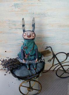 Купить Пара зайчиков - серый, бирюзовый, зайка, заяц, авторская кукла, авторская работа, лён