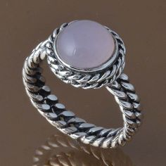 EXCLUSIVE 925 STERLING SILVER CHALCEDONY RING 5.85g DJR8327 SZ-9 #Handmade #Ring