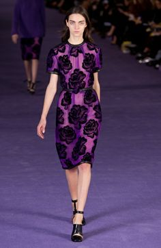 Neon purple Deco-era florals appeared in Christopher Kane's fall collection.