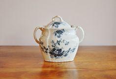 Antique Ironstone Sugar Bowl, W.H. Grindley & Co., England Hudson Pattern, Victorian Blue Transferware Lidded Handled Bowl, Blue White China