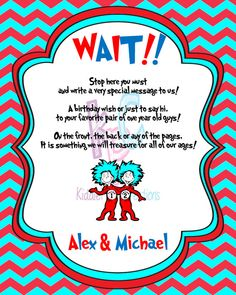 Thing 1 & 2 Birthday Party 8x10 Book Sign by KiddiePartyCreations