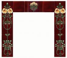 A fireplace set of reproduction c1910 Art Nouveau Rose tiles - two five tile sets and a single tile, with plain field tiles finishing the de...