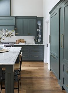 Kitchen cabinet paint color - Pewter Green Sherwin William's #6208 Emily Henderson Portland Traditional Kitchen Second Round13