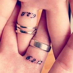 Wedding date tattoos on the underside of the ring finger-LOVE!