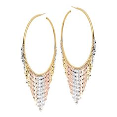 Lana Tri Gold Large Fringe Hoop Earrings (157.785 RUB) ❤ liked on Polyvore featuring jewelry, earrings, multi color earrings, tri color earrings, multicolor earrings, colorful earrings and multi colored earrings