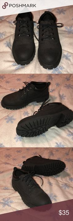 Black womens timberland boots Black womens timberland boots . Lo- cut! Like new, worn once size 7! Timberland Shoes Heeled Boots