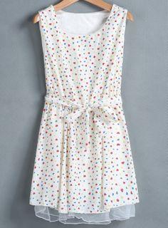Apricot Sleeveless Heart Print Belt Dress - Sheinside.com