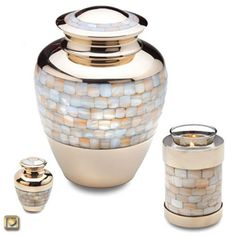 Mother of Pearl Brass Cremation Urn - a gorgeous, affordable memorial urn available in Standard, Tealight Keepsake, and Mini sizes.