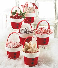 Sets of 6 Holiday Treat Buckets. No longer available from LTD. DIY w/ red and white felt on clay/plastic pot!