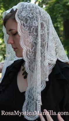Latin Mantilla For Mass / Authentic Spanish White Veil / Head Covering / Catholic Veiling / Church Veil