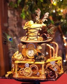 Steampunk Wedding Cake Toppers | Unique Wedding Cake Pictures By: A Shutter in Time Photography