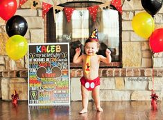 Mickey Mouse Birthday cake smash outfit boy first by GinaBellas1
