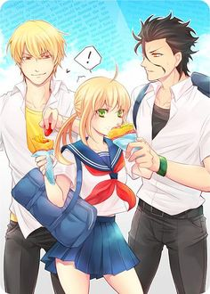Modern day Fate/Zero lol saber loves food so much XD
