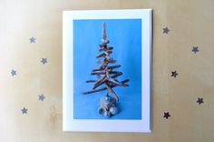 Blank Christmas Greetings Card with Envelope, Driftwood Tree and Vintage Baubles Card by SeaBreezeShop on Etsy