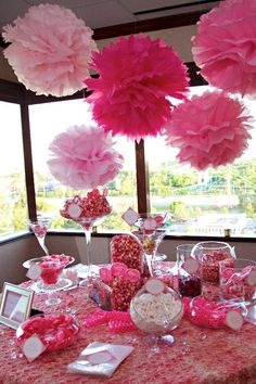 Candy table but in blue Candy Buffet Tables, Candy Table, Pink Candy Buffet, Barbie Birthday, Barbie Party, Baby Shower Candy, Baby Shower Parties, Grad Parties, Birthday Parties