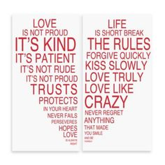 Love Is & Life Is Iii Typography Wall Décor (Set Of - Love is & Life Is III wall art makes a perfect addition to any room in your home. This two piece set combines art, style and inspiration. The bright capital lettering is in rainbow colors. Great Quotes, Quotes To Live By, Me Quotes, Inspirational Quotes, Daily Quotes, Love Life, My Love, Real Life, Love Canvas