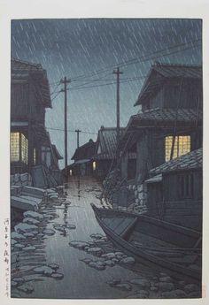night rain at kawarako, ibaraki (kawarago no yau) 1947 by hasui kawase