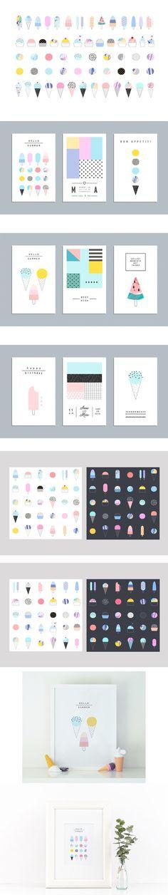 ICE CREAM raster version. Poster Templates. $18.00