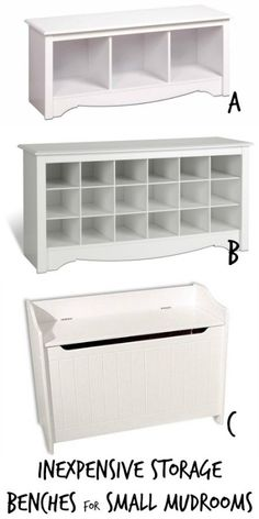 Inexpensive Storage Bench Options for Small Mudrooms via Remodelaholic.com