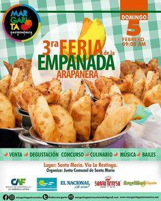 Comienzan las Ferias Gastronómicas en Margarita! Se inicia este Calendario de Ferias del 2017 con la #3raFeriadelaEmpanadaArapanera en Santa Maria Via La Arestinga.  VENTA I DEGUSTACION I CONCURSO CULINARIO I MUSICA I BAILES  Desde las 9:00 AM  NO HABRÁ PUNTO DE VENTA SUGERIMOS LLEVAR EFECTIVO De las Tetas de Maria Guevara pa' abajo!  Organiza: Comunidad de Santa María