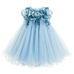 Lesy Blue Tulle & Satin Flower Dress with Jewels at Childrensalon.com