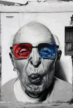 Street art. 3d glasses grandpa