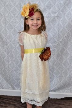 323ed9e44c2 Girls Spring Shabby Chic Wedding Flower Girl Cream Lace Rustic Dress.   70.00