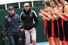 Formula One World Championship 2016, Round 7, Canadian Grand Prix, Montreal, Canada, Sunday 12 June 2016 - L to R): Max Verstappen (NLD) Red Bull Racing with Nico Hulkenberg (GER) Sahara Force India F1 on the drivers parade. | Formule1.nl