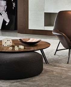 Find out all of the information about the Minotti product: contemporary coffee table / wooden / glass / aluminum SULLIVAN. Table Furniture, Home Furniture, Furniture Design, Furniture Ideas, Living Tv, Ottoman Table, Grey Ottoman, Fabric Ottoman, Contemporary Coffee Table