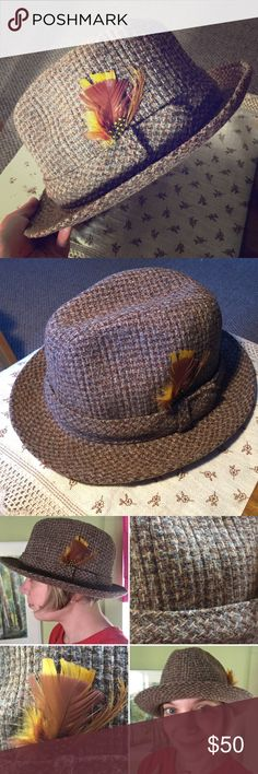 Vintage beautiful tweed Stetson fedora hat Vintage beautiful tweed Stetson fedora hat, amazing condition!!! Size tag still attached ( I don't know if this was even ever worn!) size 7 (56 cm). This is a lovely prize for whoever buys it , I won't mind keeping it if it doesn't sell, I just already have a pretty brown Stetson fedora and am trying to be practical  Vintage Accessories Hats