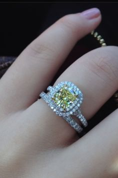 If my boyfriend can see this, I want this one! This one's perfect :) Tiffany Soleste Double Halo Yellow Diamond Engagement Ring