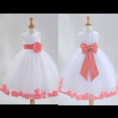 Coral flower girl dresses