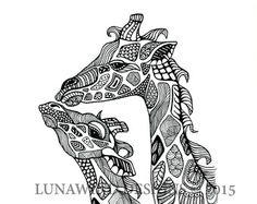 Items similar to Hand Drawn Henna Style Giraffe duo on Etsy