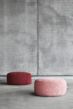 soft colours and fabrics like velvet look great against industrial concrete