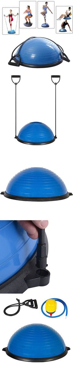 Z ZTDM Yoga Half Balance Trainer Ball Fitness Strength Exercise Balance Ball with Resistance Bands & Pump