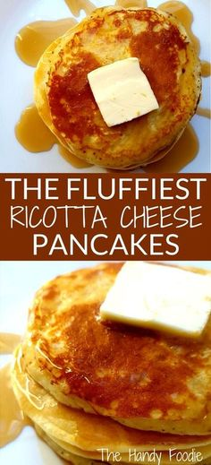 Yummiest, fluffiest homemade ricotta pancakes you'll ever have. Make these pancakes in just 15 minutes with simple ingredients found in your pantry. Recipes Using Ricotta Cheese, Recipe Using Ricotta, Homemade Ricotta Recipe, Ricotta Recipes Healthy, Breakfast Recipes With Ricotta, Ricotta Cheese Desserts, Pancakes Ricotta, Cheese Pancakes, Homemade Pancakes
