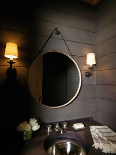 nice masculine bathroom, would be good color pallet for groom's bathroom.