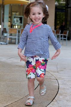 Little girl style, gingham and floral, crewcuts