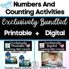 Exclusively Bundled-SeeSaw Counting With Cereal | Distance Learning Counting Activities, Learning Resources, Teacher Resources, Printable Numbers, Number Words, Handwriting Practice, Seesaw, Sight Words