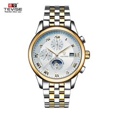 33.54$  Buy here - http://ali7ni.shopchina.info/go.php?t=32806225283 -  Tevise brand luxury  Men's wristwatches Automatic Mechanical fashion moon phase steel leather male watches relogio clock   #magazineonlinewebsite