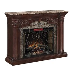 Astoria Classic Flame Indoor Electric Fireplace Mantel in Empire Cherry