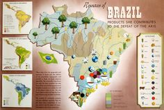 1940s WWII Map of Brazil   Products she by OutofCopenhagen on Etsy