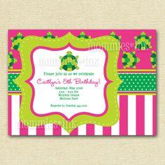 Preppy Turtle Birthday Party Invitation  - PRINTABLE INVITATION DESIGN