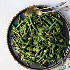 Blistered Green Beans With Garlic and Miso Recipe | Epicurious #green_beans #vegetables #miso