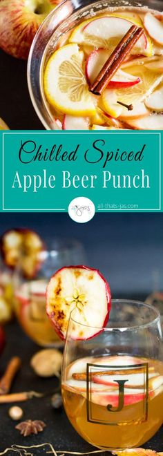 This quick and easy to make chilled spiced apple beer punch recipe with cinnamon, cloves, and lemon is quick and easy to make and is a perfect cocktail all year round. Spice up your fall holiday table celebrating Oktoberfest and Thanksgiving or impress guests at your next summer gathering. | www.allthatsjas.com