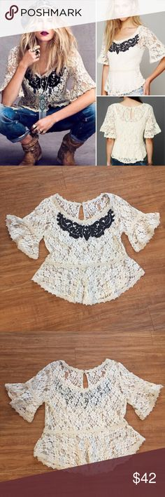 """Free People """"With Flair"""" Lace Peplum Top Sheer lace Free People top with floral embroidery detail around neckline. Bell sleeves hemmed with crochet trim. Keyhole back button closure. Size Small. Excellent pre owned condition. Such a feminine beautiful top! No flaws. Free People Tops Blouses"""