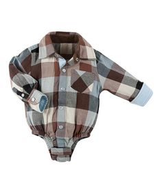 Take a look at this Brown Plaid Flannel Bodysuit - Infant on zulily today!